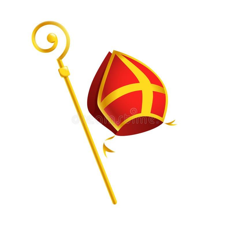 Inglete de las cualidades de San Nicolás o de Sinterklaas y palillo de oro del báculo pastoral - aislados en el fondo blanco stock de ilustración