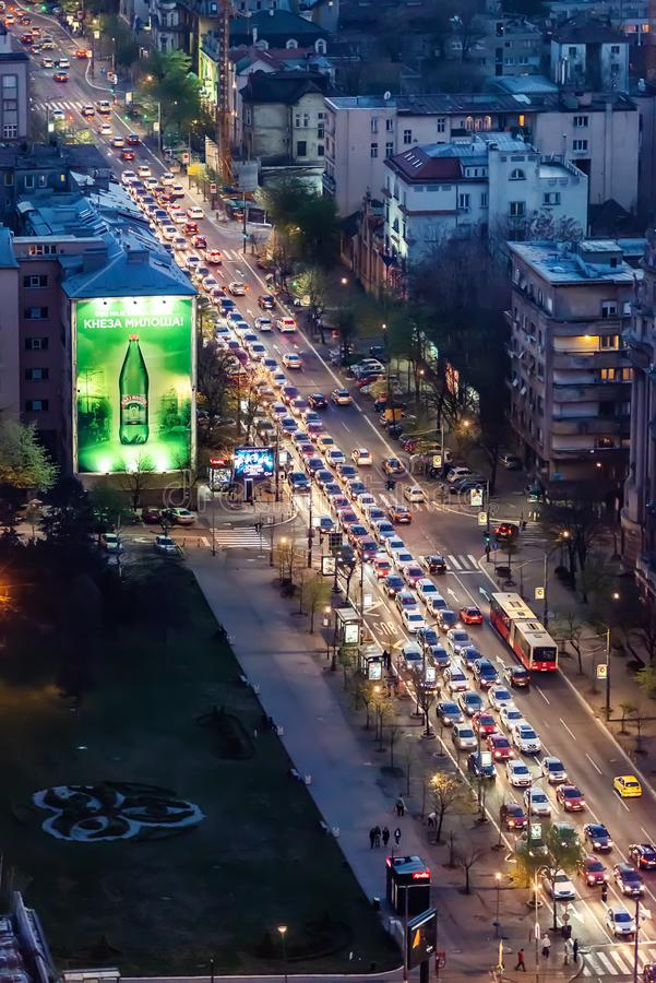 Ingorghi stradali a Belgrado fotografia stock libera da diritti
