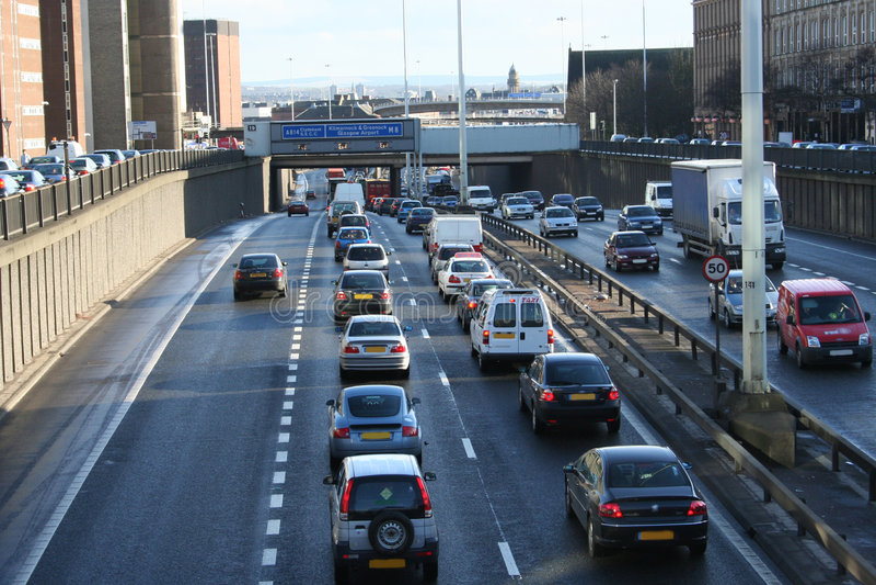 Ingorgo stradale, Glasgow fotografia stock