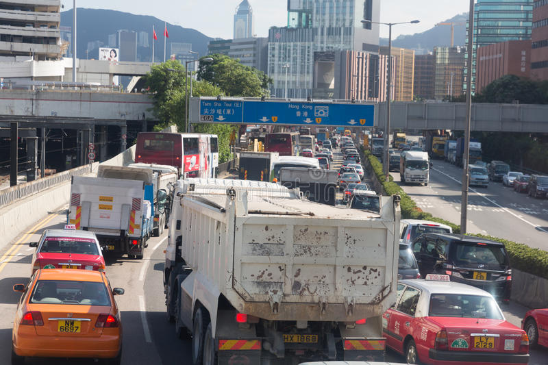 Ingorgo stradale in Hong Kong fotografia stock