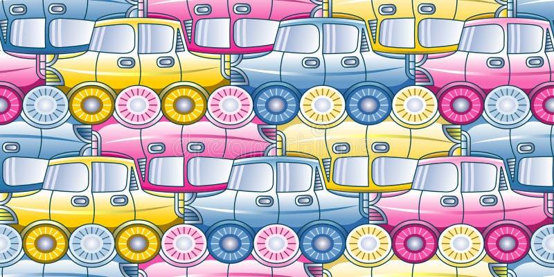 Ingorgo stradale - modello senza cuciture con le automobili stilizzate in tre tonalità illustrazione vettoriale