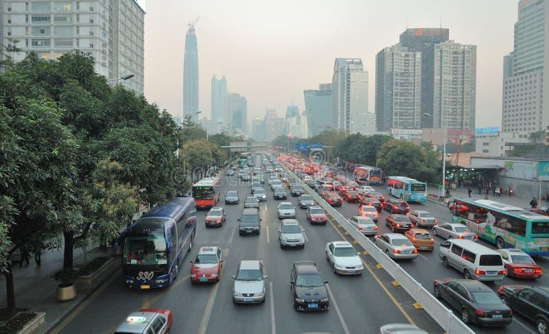 Ingorgo stradale a Shenzhen fotografie stock