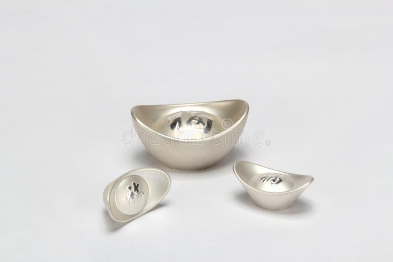 ingot chiński srebro zdjęcie royalty free