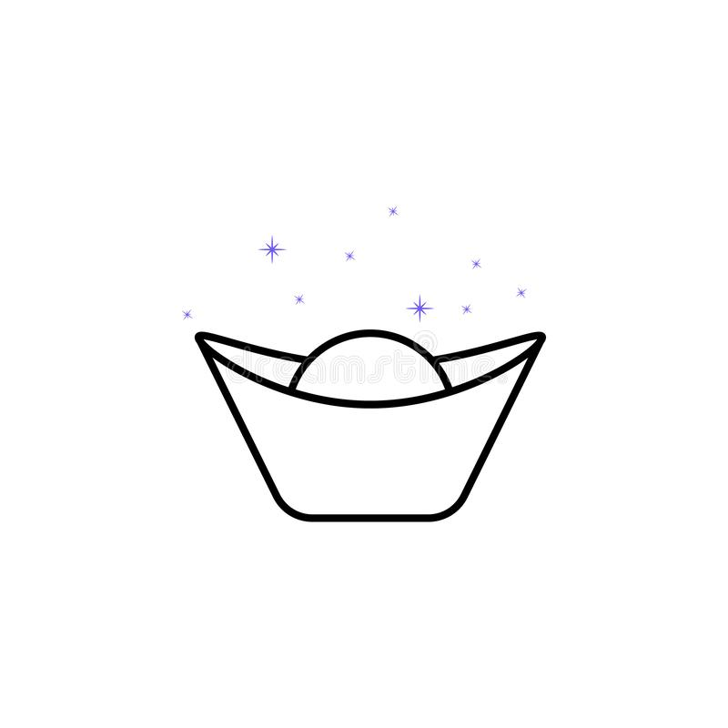 Ingot, scene, China culture icon. Element of China culture icon. Thin line icon for website design and development, app royalty free illustration