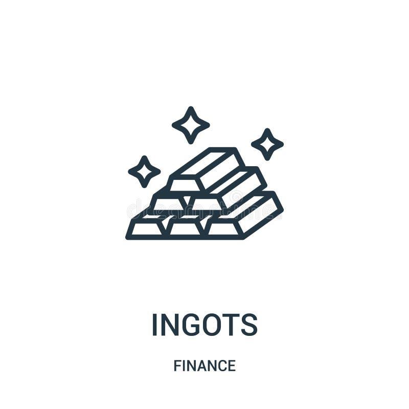 ingots ikony wektor od finansowej kolekcji Cienka kreskowa ingots konturu ikony wektoru ilustracja Liniowy symbol dla używa na si ilustracji