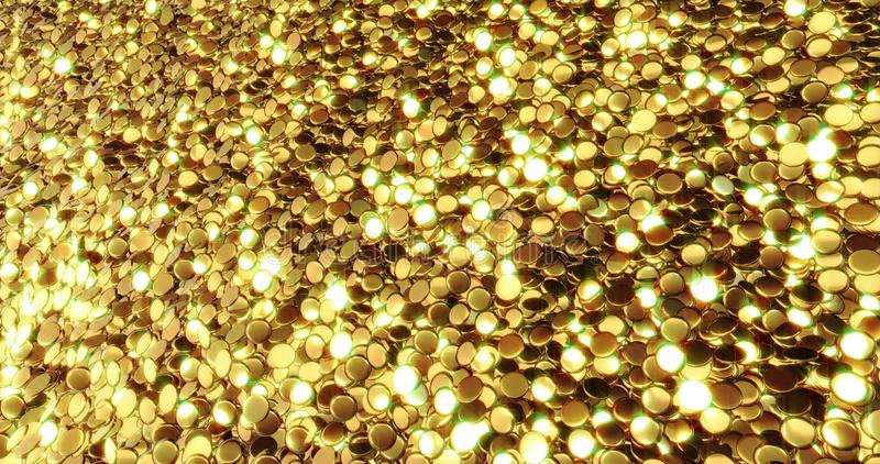 Ingots of pure gold. Golden background. Gold leaf texture. 3d graphic royalty free stock image