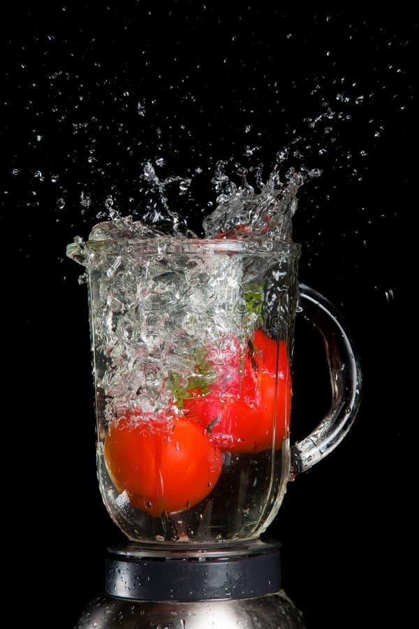 Ingrédient de Gazpacho, tomates avec l'éclaboussure de l'eau photo libre de droits