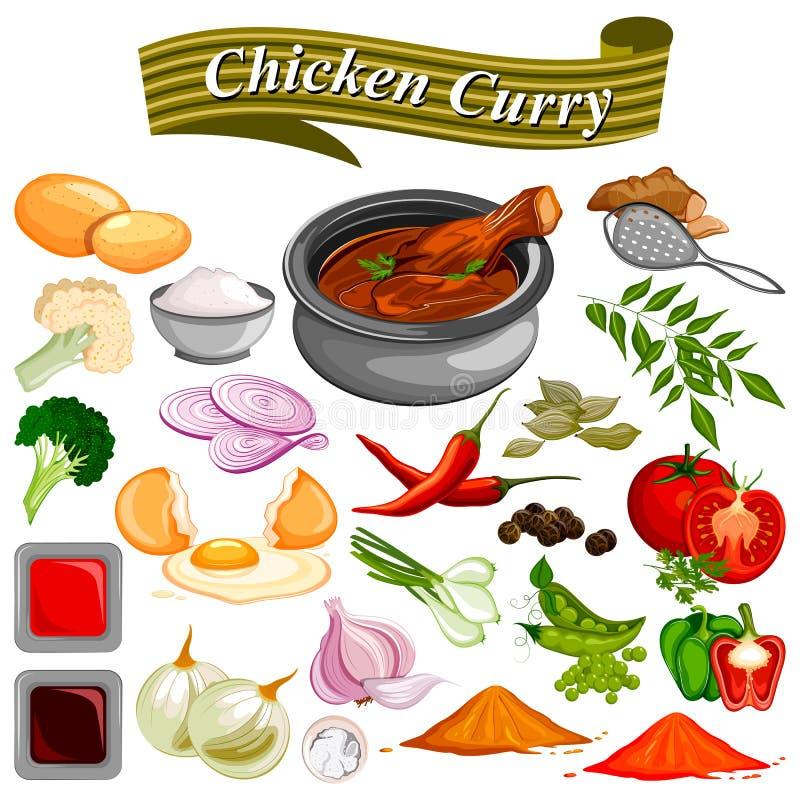 Ingrédient pour la recette indienne de cari de poulet avec le légume et les épices illustration de vecteur