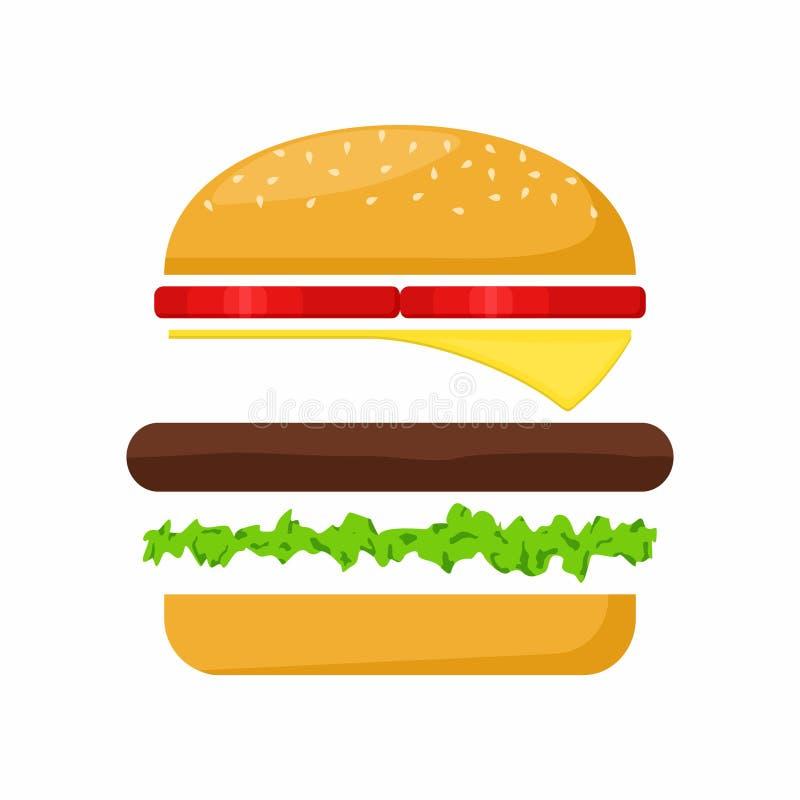 Ingrédients d'hamburger viande, laitue, fromage et tomate Vecteur d'aliments de préparation rapide illustration stock