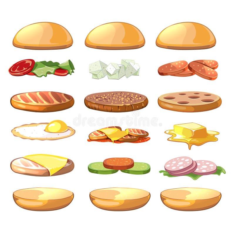 Ingrédients d'hamburgers Prêt-à-manger de vecteur réglé dans le style de bande dessinée illustration stock