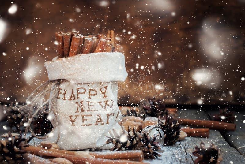 Ingrédients de cannelle et de Noël avec la neige dessinée par effet image libre de droits