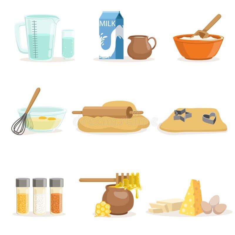 Ingrédients de cuisson et outils et ustensiles de cuisine réglés des illustrations réalistes de vecteur de bande dessinée avec la illustration libre de droits