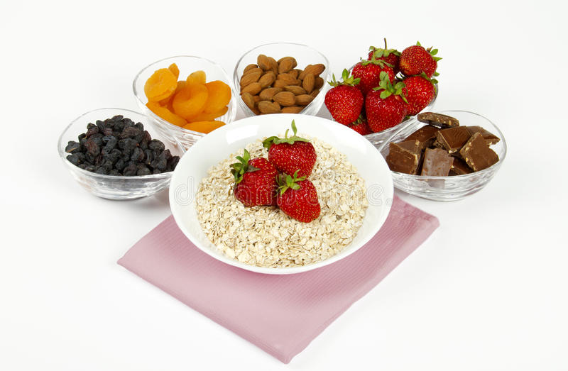 Ingrédients de déjeuner de matin images stock