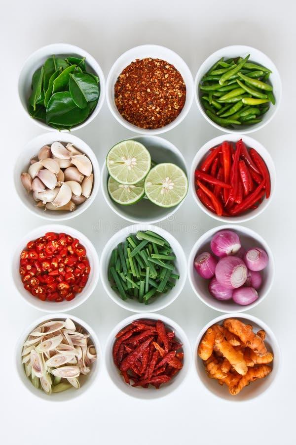 Ingrédients de nourriture thaïs images libres de droits