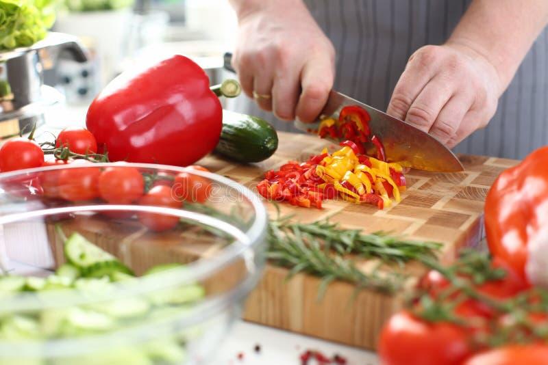 Ingrédients de salade de Cutting Organic Vegetable de chef images libres de droits