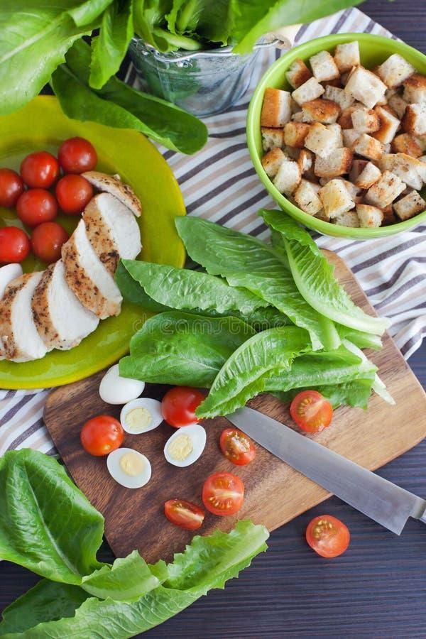 Ingrédients de salade de César image libre de droits