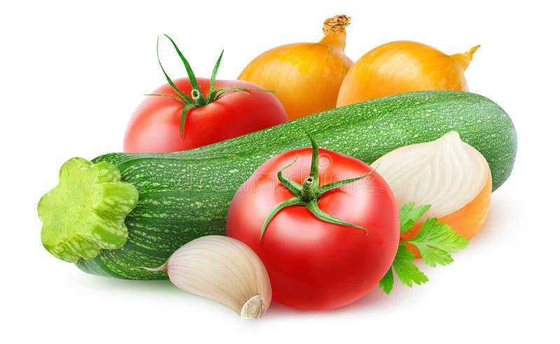 Ingrédients de sauté de courgette, d'oignon et de tomate illustration de vecteur