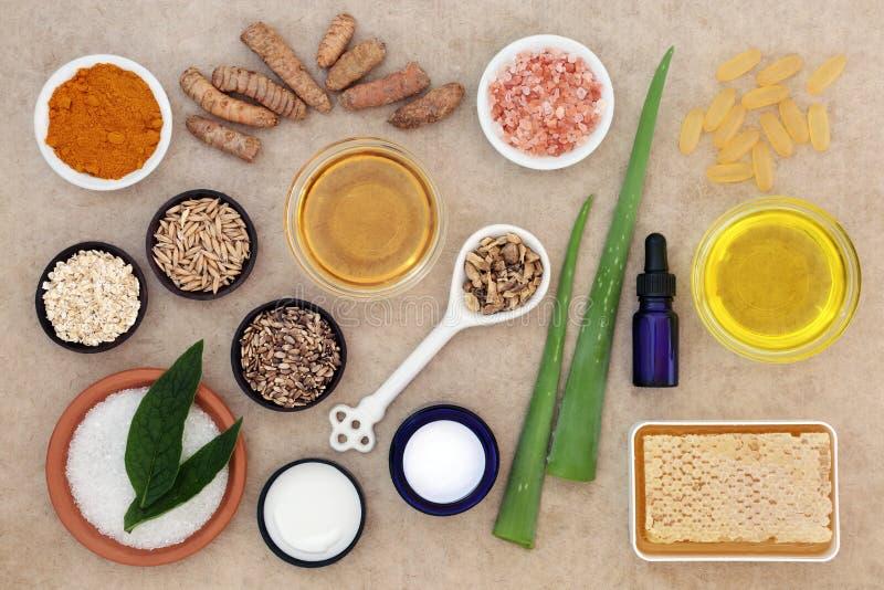 Ingrédients de soins de la peau pour apaiser le psoriasis image stock