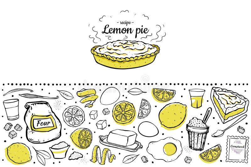 Ingrédients de tarte de citron illustration stock