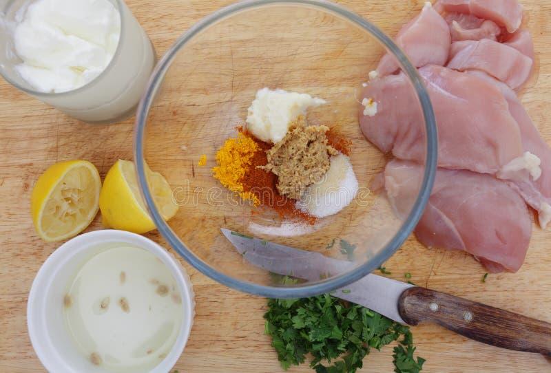 Ingrédients de tikka de poulet image libre de droits