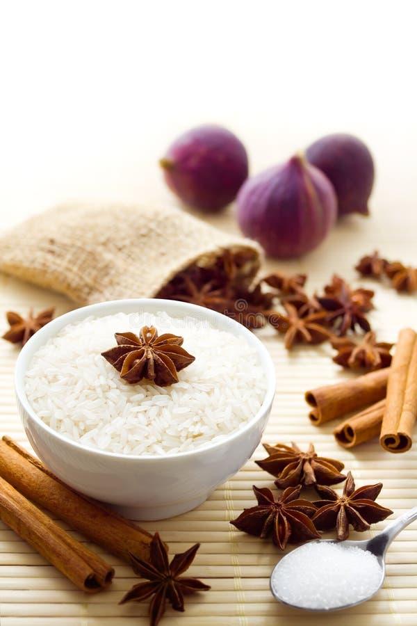 Ingrédients doux de riz image stock