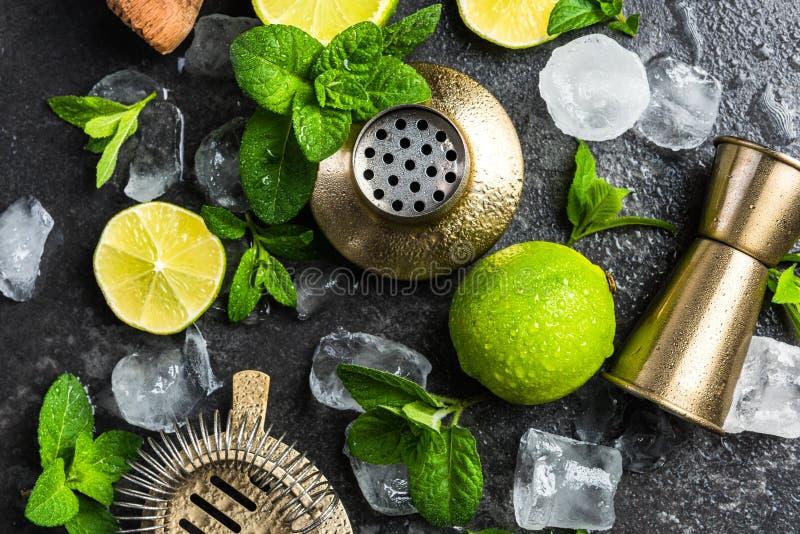 Ingrédients et outils pour faire les cocktails régénérateurs image libre de droits