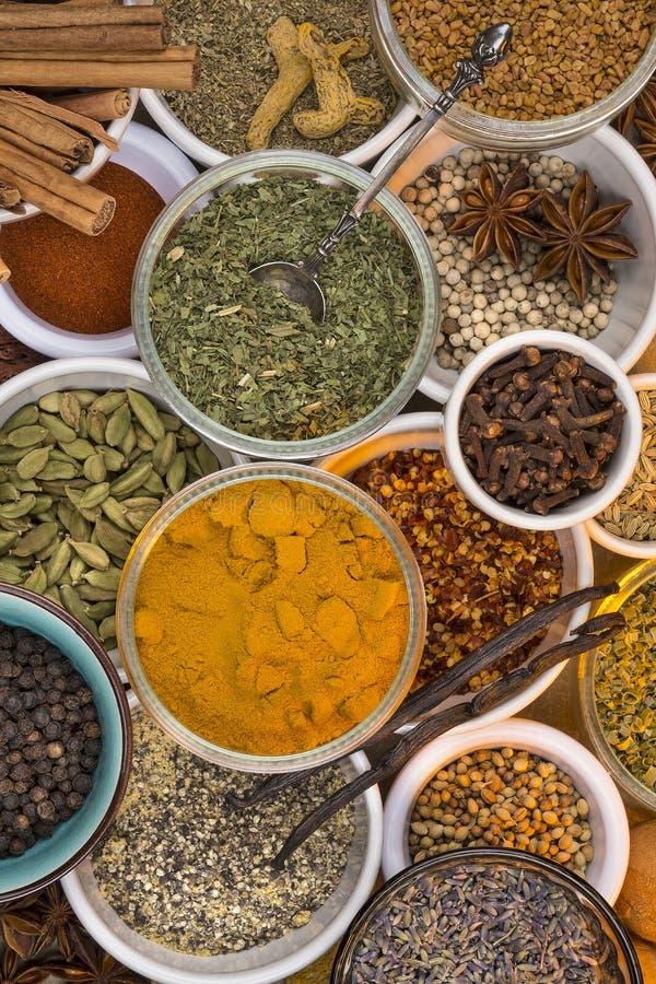Ingrédients - herbes et épices sèches photo libre de droits