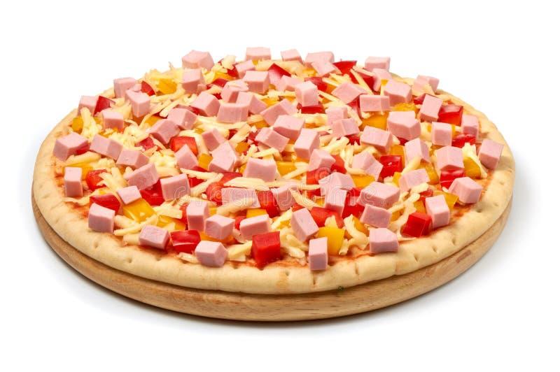 Ingrédients italiens de pizza d'isolement sur le fond blanc photo libre de droits