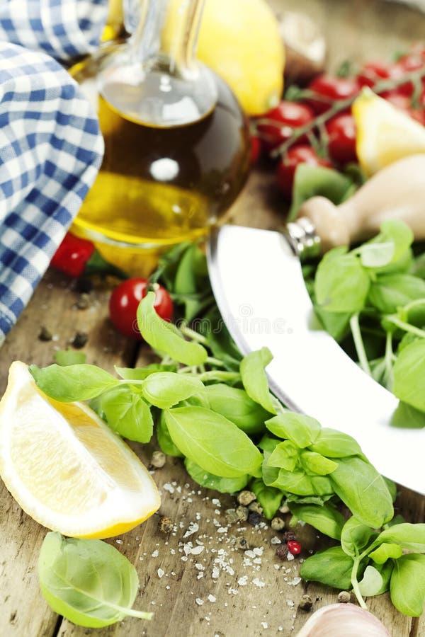 Ingrédients italiens frais images stock
