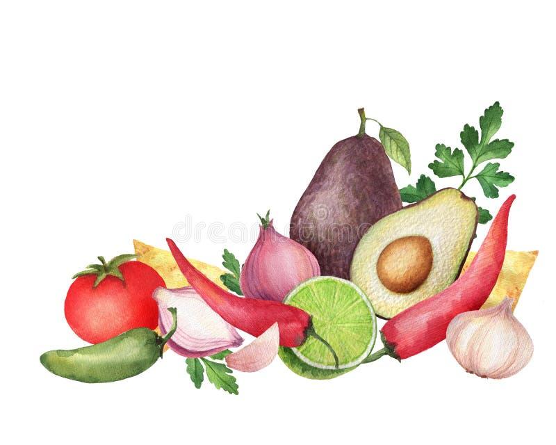 Ingrédients mexicains traditionnels de guacamole d'aquarelle illustration stock
