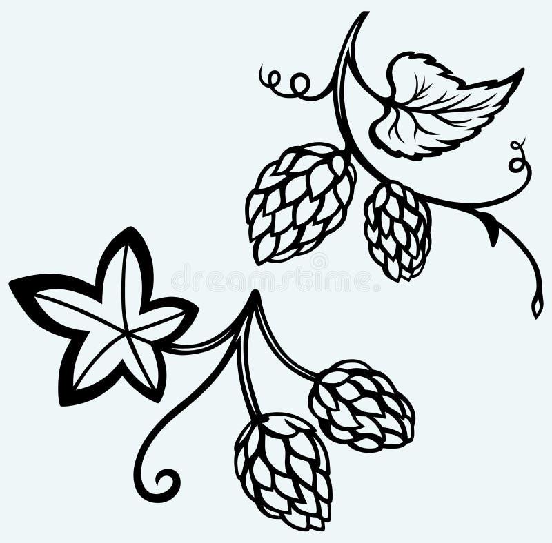 Ingrédients pour la bière houblon illustration de vecteur