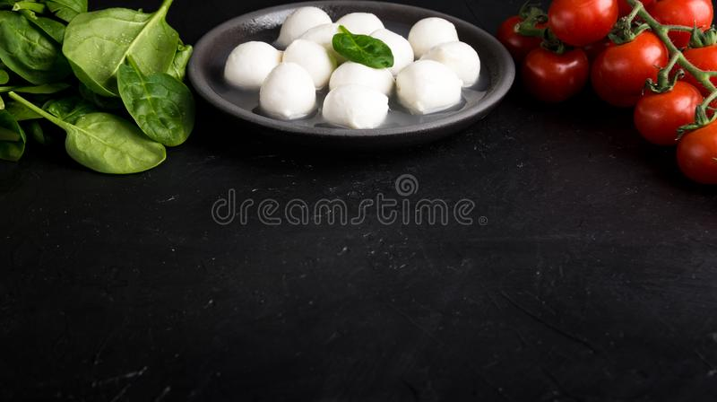 Ingrédients pour la salade de Caprese avec du mozzarella, cerise de tomates et épinards de bébé Copiez l'espace images stock