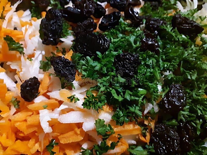 Ingrédients pour la salade de salade de choux, fond de nourriture image libre de droits