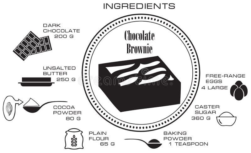 Ingrédients pour le 'brownie' de chocolat illustration stock