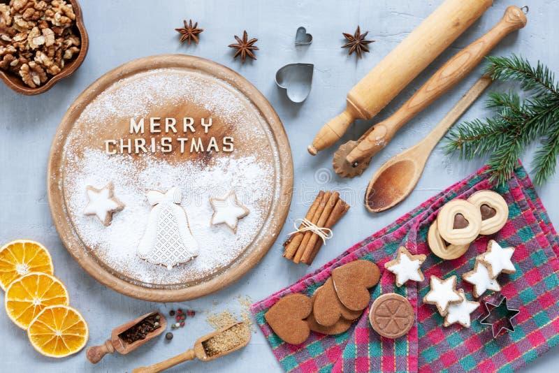 Ingrédients pour Noël et Advent Baking, pain d'épice photographie stock libre de droits