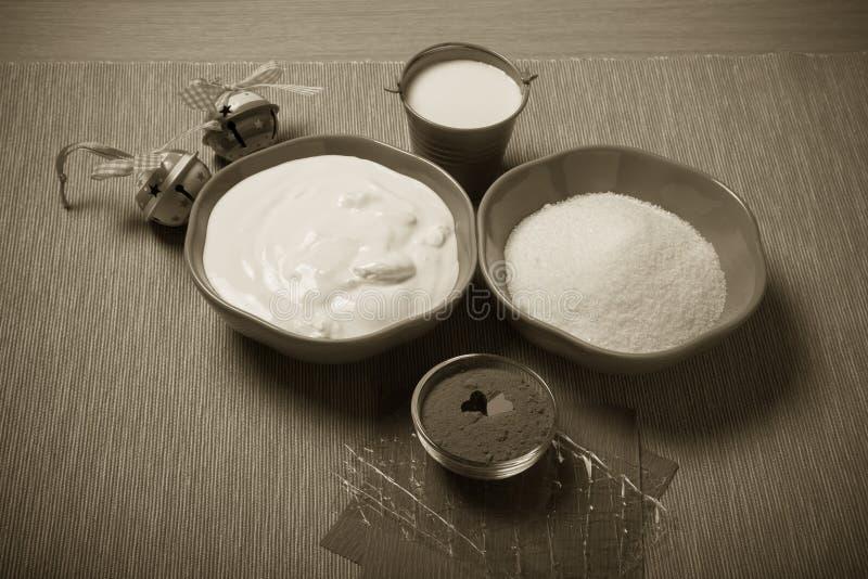Ingrédients pour une pâtisserie douce toned photos libres de droits