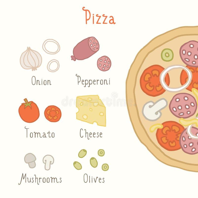 Ingrédients réguliers de pizza illustration stock