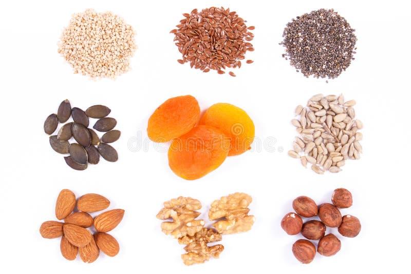 Ingrédients sains comme fer de source, acides d'Omega, vitamines, minerais et fibre photographie stock libre de droits