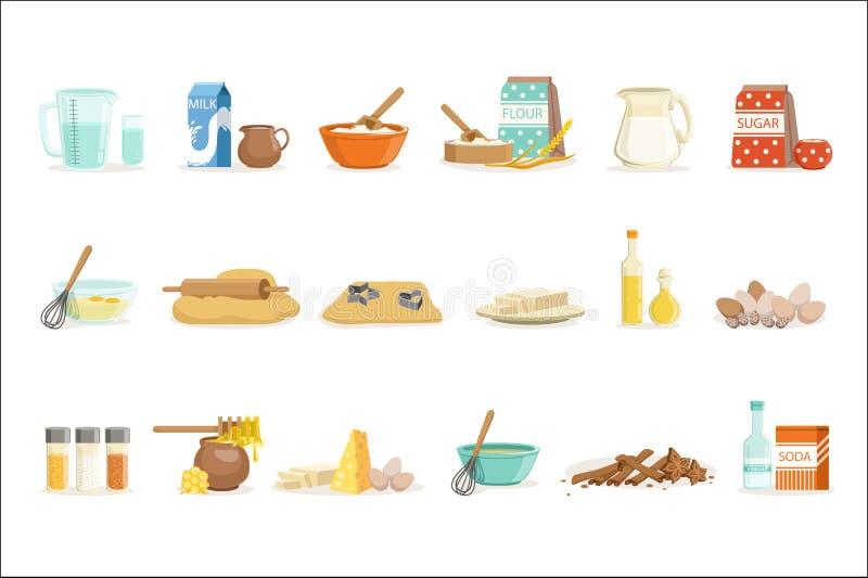 Ingr?dients de cuisson et outils et ustensiles de cuisine r?gl?s des illustrations r?alistes de vecteur de bande dessin?e avec la illustration libre de droits