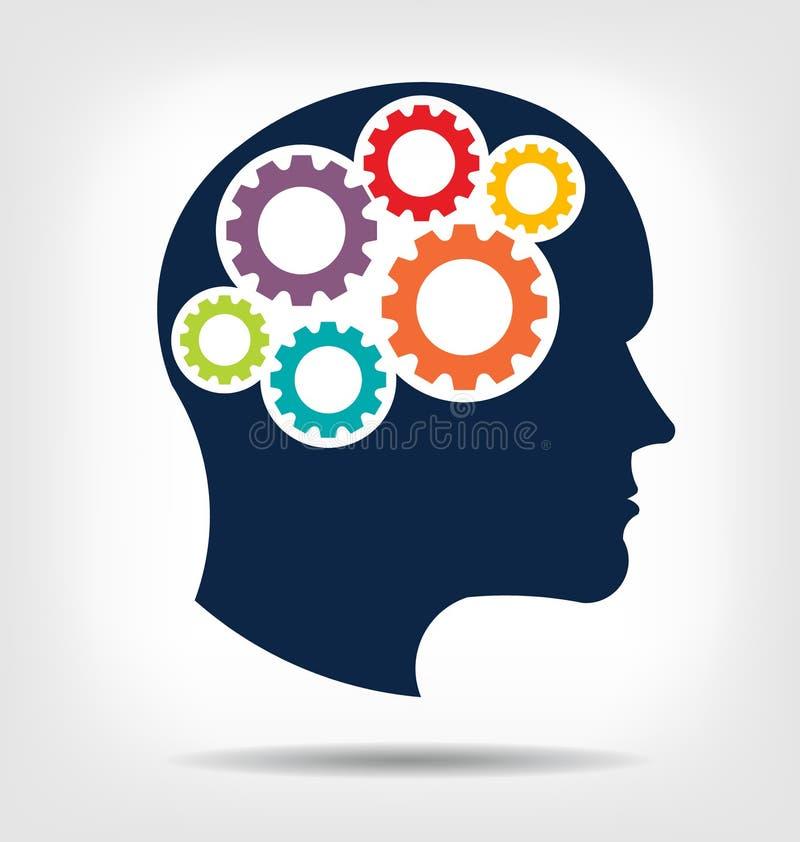 Ingranaggi capi nel logo del sistema di cervello illustrazione di stock