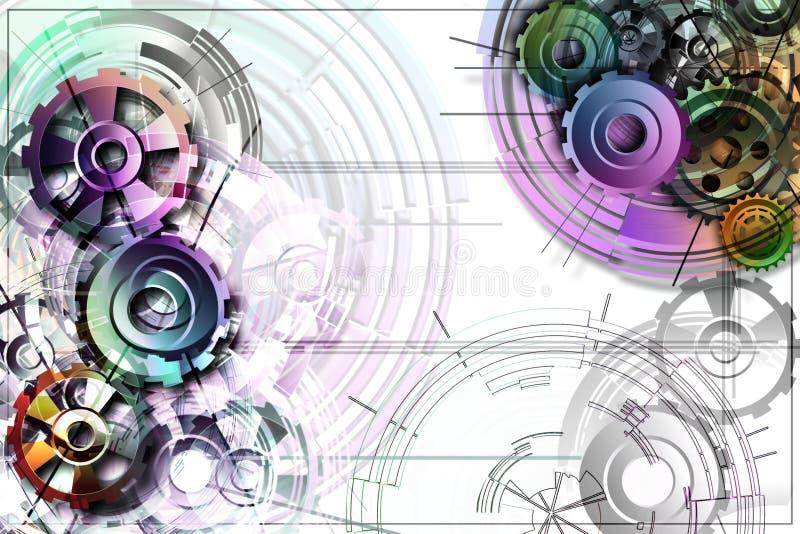 Ingranaggi colorati su un fondo bianco con gli schemi illustrazione vettoriale