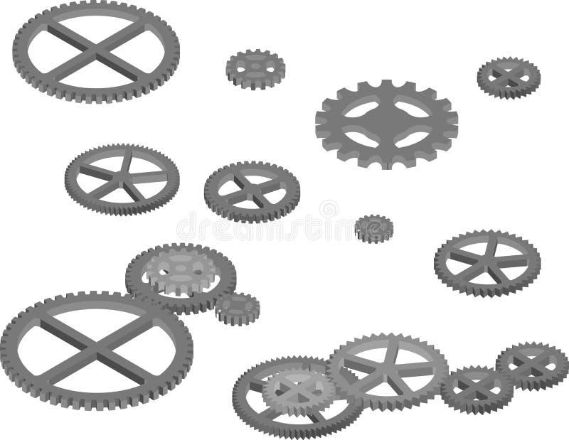 Ingranaggi del motore per design industriale illustrazione vettoriale