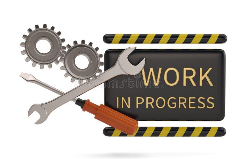 Ingranaggi del segno e dell'acciaio del lavoro in corso isolati sul backgrou bianco illustrazione di stock