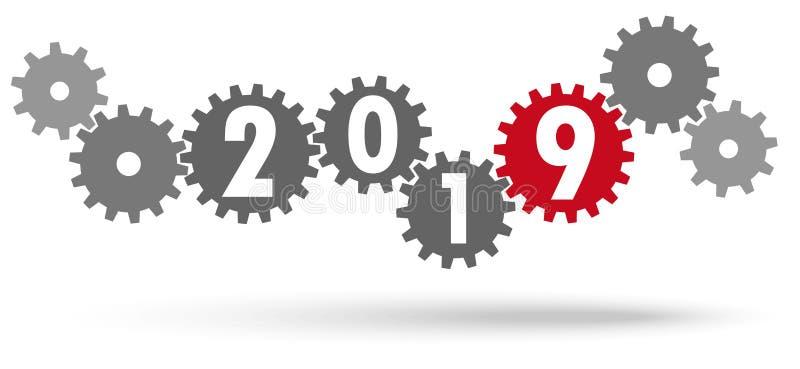 ingranaggi di cooperazione per il nuovo anno 2019 royalty illustrazione gratis