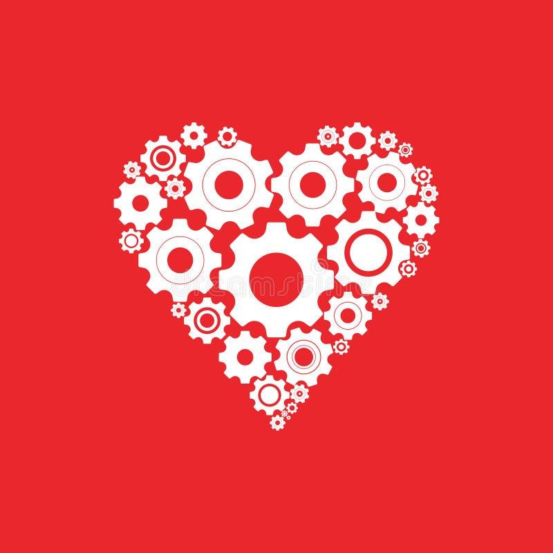 Ingranaggi e denti nella forma dell'icona di tema del sistema del cuore royalty illustrazione gratis