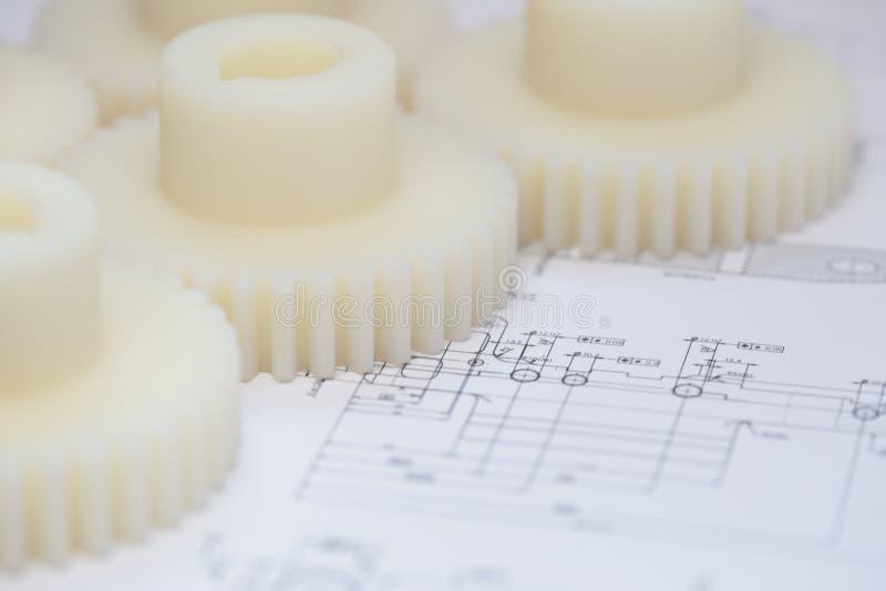 Ingranaggi industriali del nylon della plastica immagini stock