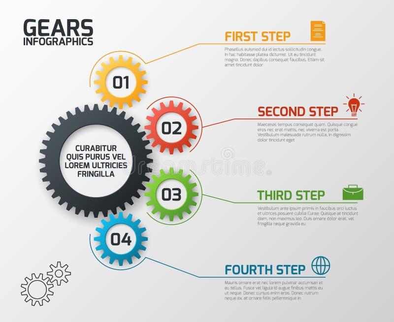 Ingranaggi Infographics I denti che innestano la pianificazione dei processi, cronologia e costruenti il infochart con le opzioni illustrazione di stock