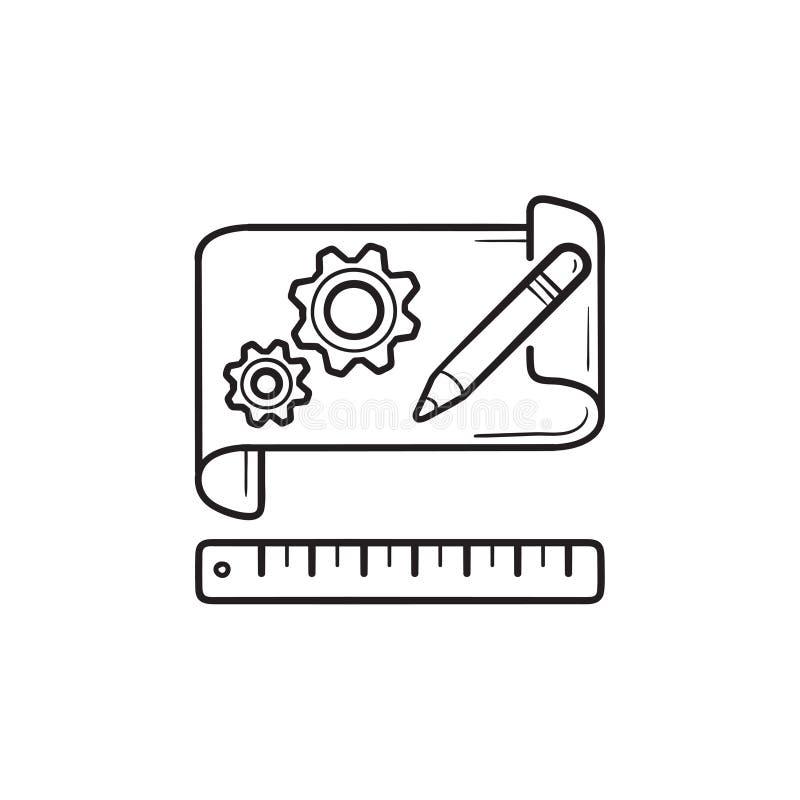 Ingranaggi sull'icona disegnata a mano di scarabocchio del profilo di modello di carta illustrazione di stock