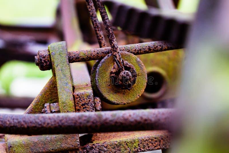 Ingranaggio arrugginito, muscoso ed invecchiato del ferro da un pezzo di attrezzatura d'annata dell'azienda agricola alla macro d immagini stock libere da diritti