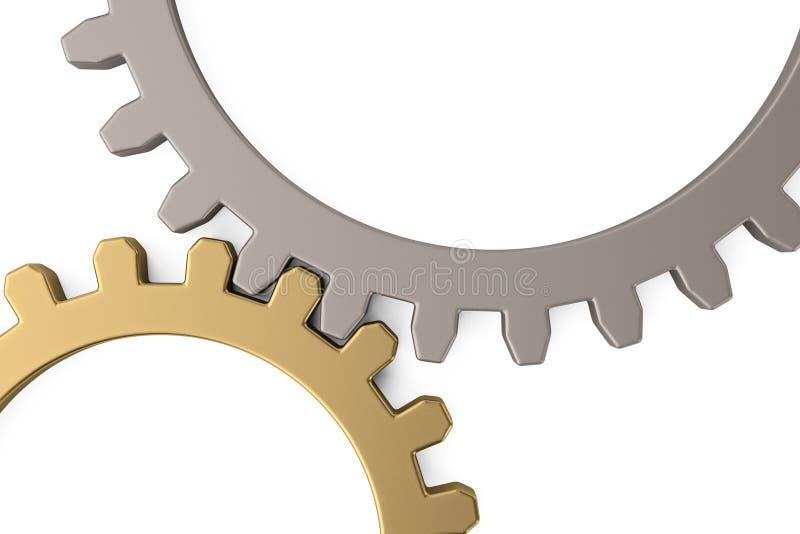 Ingranaggio dell'argento e dell'oro su fondo bianco illustrazione 3D illustrazione vettoriale